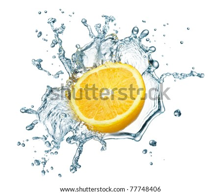orange in spray of water. Juicy pear with splash on white background