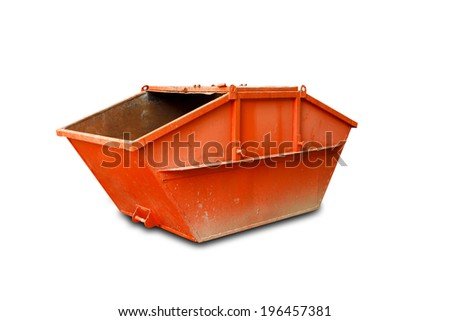 Orange Industrial Waste Bin Isolated Over White  - stock photo