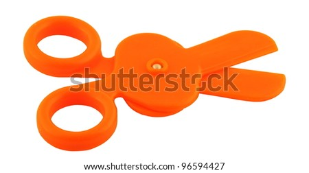 Orange Infant Scissors Isolated on Pure White - stock photo
