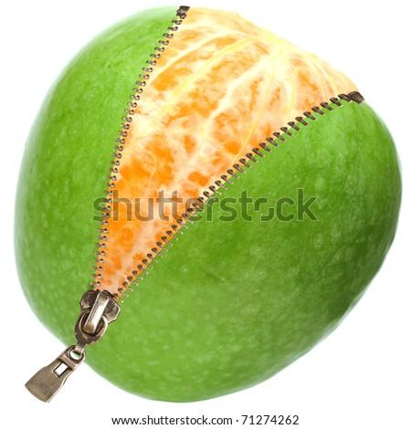 orange  inside apple  with zipper isolated on white - stock photo