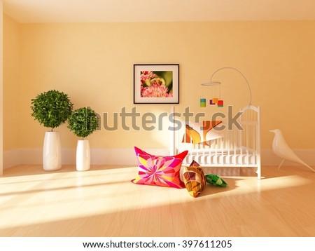 orange interior of a nursery. 3d illustration  - stock photo