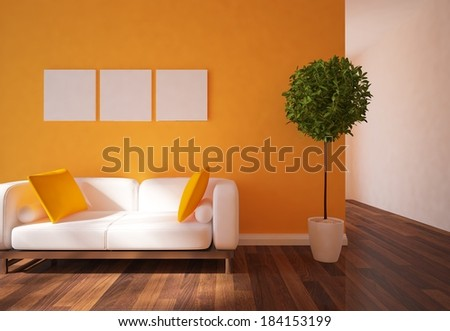 orange interior with white furniture - stock photo