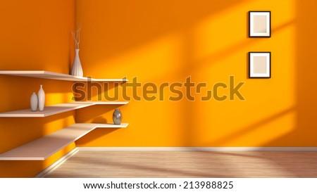 orange interior with white shelf and vases - stock photo