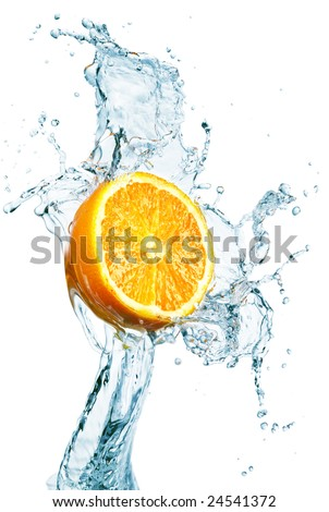 orange is dropped into water splash on white - stock photo