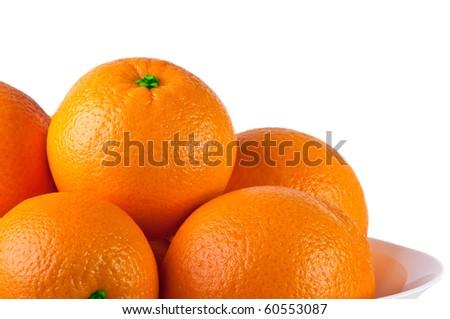Orange isolated on a white background. Fresh fruits Isolated orange collection. - stock photo