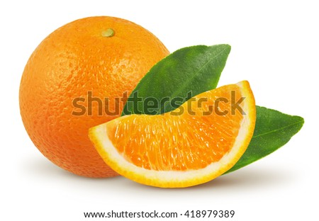 Orange isolated on white with leaves - stock photo