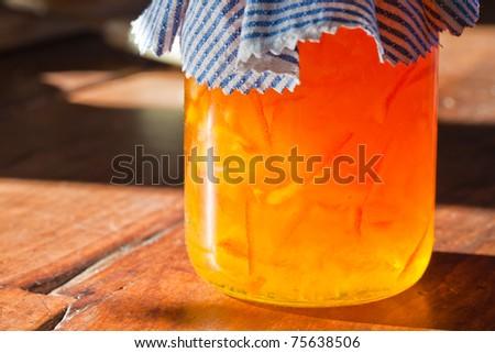 orange jam detatil on the table - stock photo