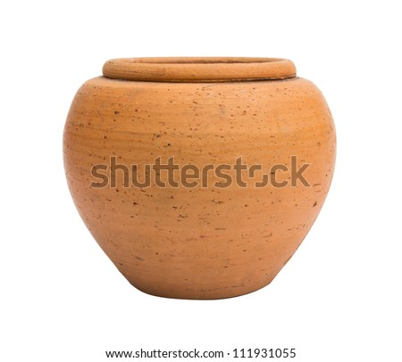 Orange jar isolated on white background - stock photo
