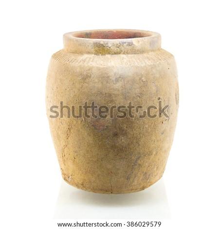 Orange jar isolated on white background - stock photo