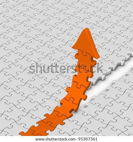 orange jigsaw puzzles arrow on gray background - stock photo