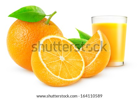 Orange juice and fresh oranges over white background - stock photo