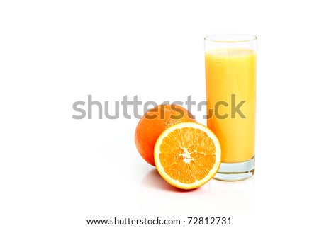 Orange juice and fruits isolated on white