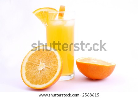 Orange juice and half-cut oranges isolated on white