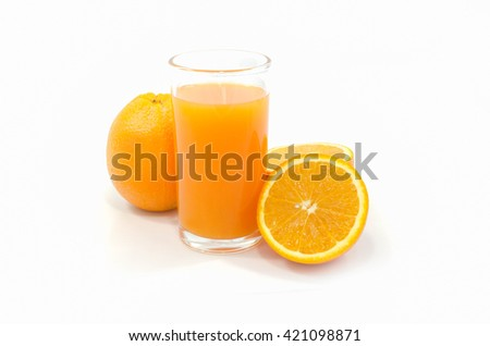 Orange juice and Orange fruit isolated on white background