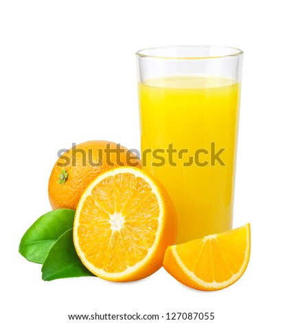 Orange juice and oranges with leaves on white background - stock photo