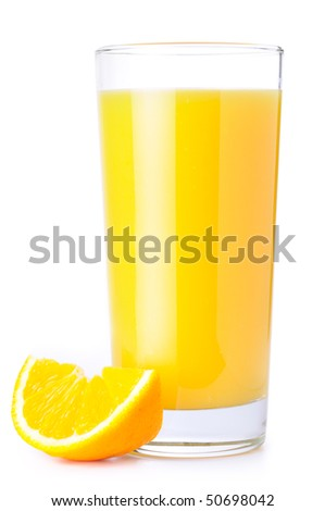orange juice and slice isolated on white - stock photo