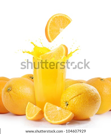 Orange juice and slices isolated on white - stock photo
