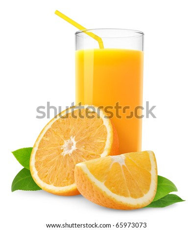 Orange juice and slices of orange isolated on white - stock photo
