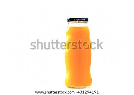 Orange juice bottle,Isolated on white background  - stock photo
