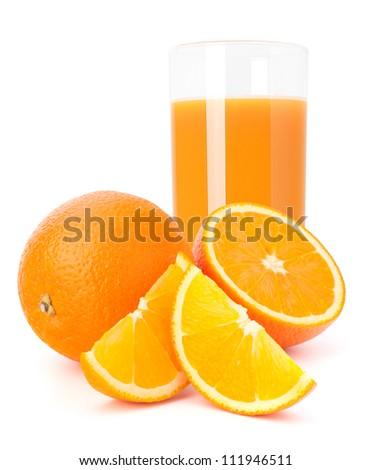 Orange  juice glass  and orange fruit isolated on white background - stock photo