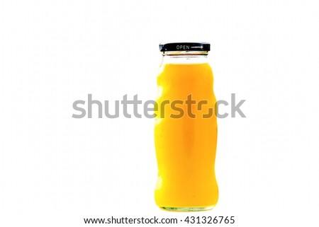 Orange juice glass bottle and fruit juice    - stock photo