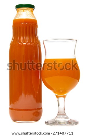 Orange juice, glass bottle and glass isolated on white background. Pumpkin juice. - stock photo
