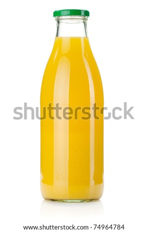 Orange juice glass bottle. Isolated on white background - stock photo