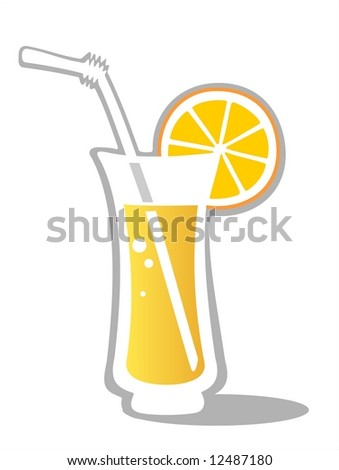 Orange Juice glass isolated on a white background. - stock photo