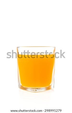 Orange juice glass isolated on white background - stock photo