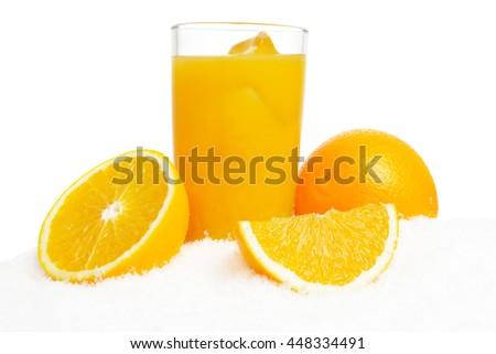 Orange juice,ice cubes and fruit on ice on white background - stock photo