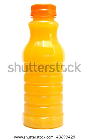 Orange Juice in a Bottle Isolated on White - stock photo