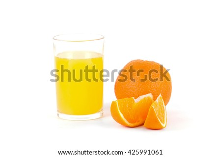 orange juice in a glass and an orange on a white background - stock photo