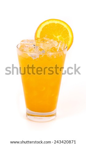 Orange juice in a glass isolated on white background - stock photo
