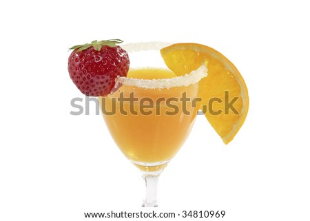Orange juice in a glass with strawberry over bright background