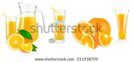 orange juice in a jug and a glass and meter on white background