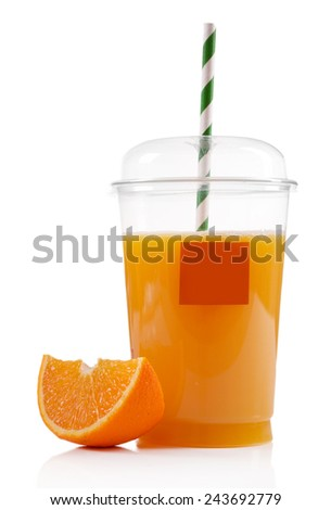 Orange juice in fast food closed cup with tube and slice of orange isolated on white - stock photo