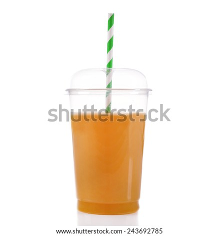 Orange juice in fast food closed cup with tube isolated on white