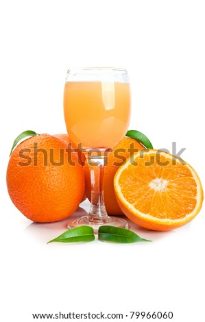 Orange juice in glass and fruits isolated on a white background - stock photo