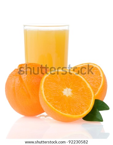 orange juice in glass and slices isolated on white background
