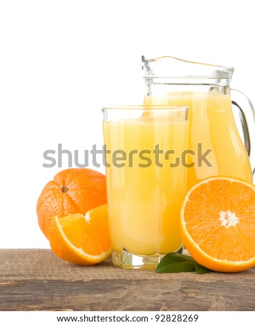 orange juice in glass and slices isolated on white background - stock photo