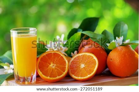 Orange juice in glass, blossom and slice of oranges - stock photo