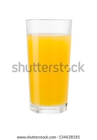 Orange juice in glass isolated on white with clipping path included - stock photo