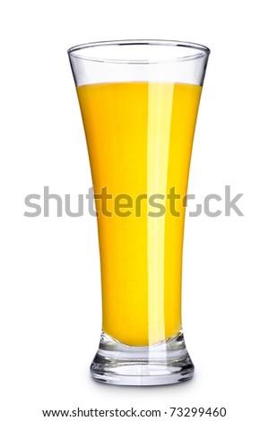 Orange juice in glass on white background - stock photo