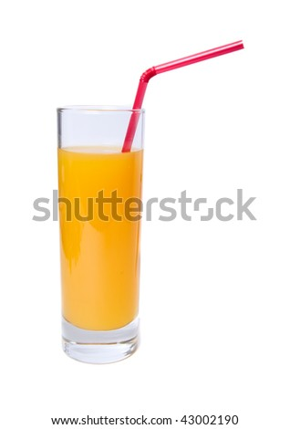 Orange juice in glass with straw