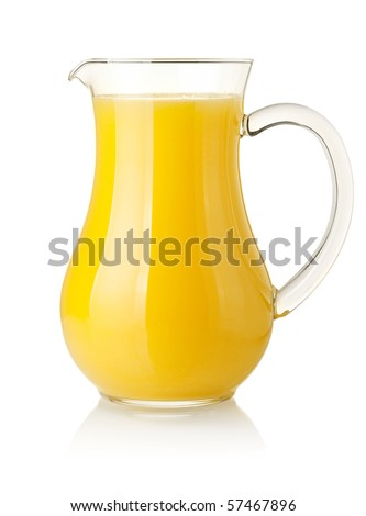 Orange juice in pitcher. Isolated on white background - stock photo