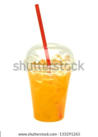 Orange Juice in take away cup with straw isolated on white background - stock photo