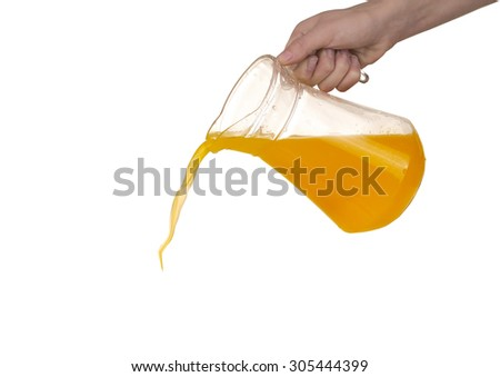 Orange juice is poured from pitcher - stock photo