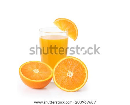 Orange juice isolated on a white