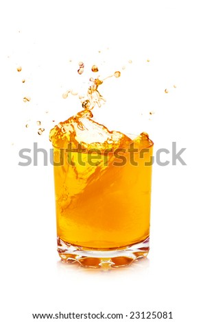 orange juice isolated on a white background