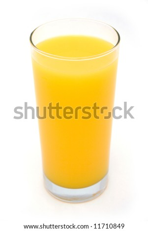 Orange juice isolated on white - stock photo